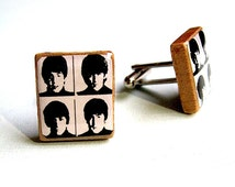 Beatles Scrabble Tile Cufflink Set - Scrabble Cufflinks - Beatles Fan - Repurposed Parts - Music Lover - gift for boyfriend
