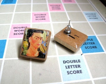 Frida Khalo Earrings -  Vintage Scrabble Letter Tiles Stud Earrings// Scrabble  Earrings - Frida Kahlo Scrabble Earrings -