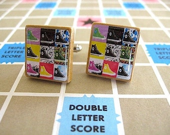 Pop Art Cufflinks - Converse Sneakers Scrabble Tile CuffLinks - eco gift - recycled parts - Gift for Him - converse cufflinks