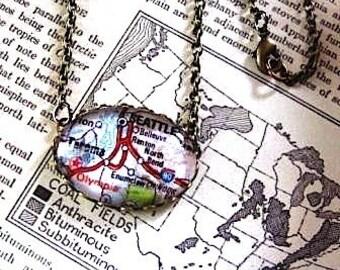Vintage Map of Seattle Washington Pendant Necklace Chain// Washington state Tacoma Olympia Renton Bellvue