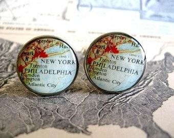 Vintage Map Cufflinks - New York Philadelphia Map Coin Dime Cufflinks  - New York Cufflinks - Phili Man - East Coast Man - Atlantic City