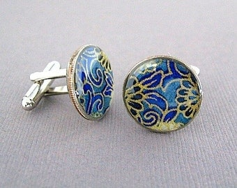 Japanese Floral Dime Cufflinks  - Cuff links - Eco  Recycled Gift - Repurposed Coin Cufflinks - Blue Gold  - gift for boyfriend
