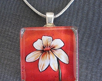 SALE - Spring Flower Glass Pendant Necklace - 2 FREE Chains Included - Beige Flower -mFlower power - Flower Pendant