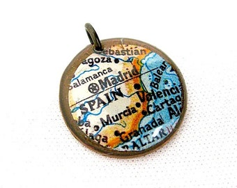 Spain Charm Pendant - Lucky Penny Charm Pendant - Spain Map Pendant - Madrid-  Antiqued Brass Chain Purchase Option