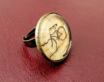 Bicycle Ring -  Brass Ring - Adjustable - Glass Ring - bike jewelry - bike ring - conserve -