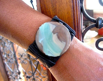 "Black Leather and Amazonite Cuff Bracelet - Adjustable size from 7"" - 9"" Statement bracelet - layering leather bracelet - stacking bracelet"