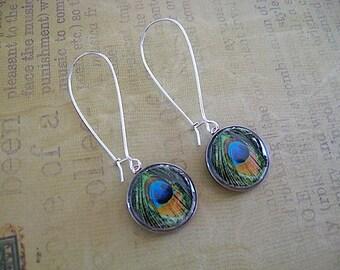 Peacock Print Dime Earrings// repurposed eco jewelry - feather earrings - dime earrings - coin jewelry