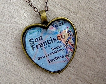 San Francisco Map Heart Pendant - SF Map Jewelry - Map of SF Bay Area Jewelry -  Glass Pendant - charm only