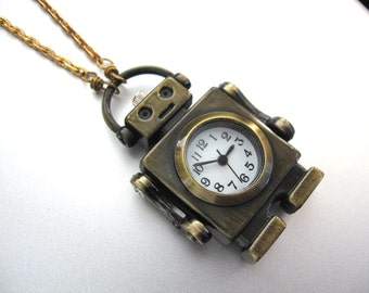 Brass Robot Watch Pendant Necklace - Robot Necklace - Real Working Watch- Solid Brass Snake Chain