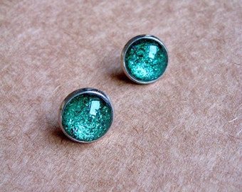 Be Dazzling - True Green Shimmer glass Post Stud Earrings - Glitter Collection - Glitter Earrings - Saint Patrick Day - Lucky Irish large
