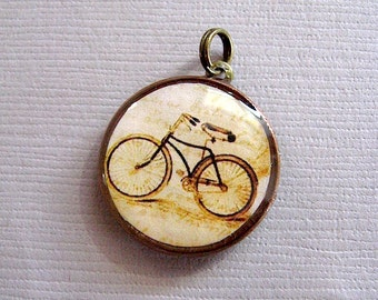 Bicycle Charm - Lucky Penny Charm Pendant - Bike Pendant - Antiqued Brass Chain sold purchase optional