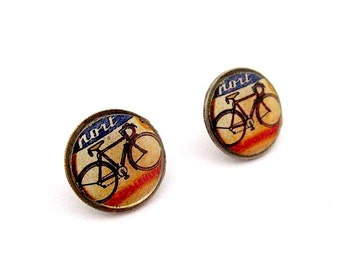 Vintage Bike Poster Earrings - Bicycle Earrings Dime Post Earrings - Dime Stud Earrings -Coin Jewelry - Bikes - studs