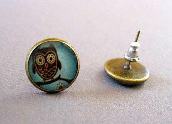 Blue Whooter Owl Earrings - Brass Post Earrings - bird earrings - handmade stud earrings