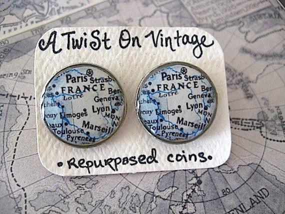 Vintage Paris France Map - Vintage Map Stud Earrings - Map Jewelry - Francophone  - French Jewelry - Paris Jewelry - Paris France
