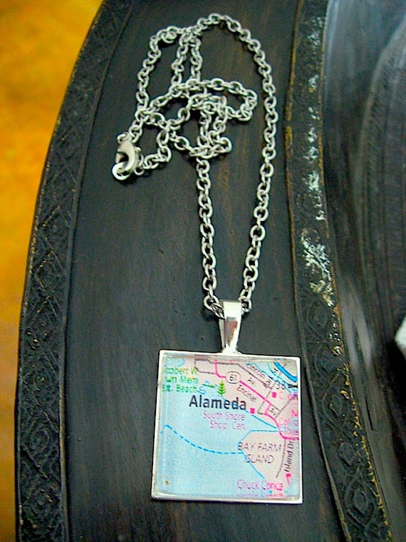 "Alameda Map Pendant Necklace - Antiqued Silver Square Glass - 18"" Steel chain included"
