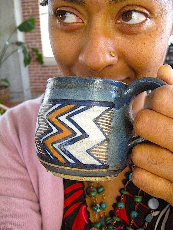 Handmade Geometric Ceramic Mug - Southwestern Native Style Coffee Cup - Blue Adobe Orange  Crem