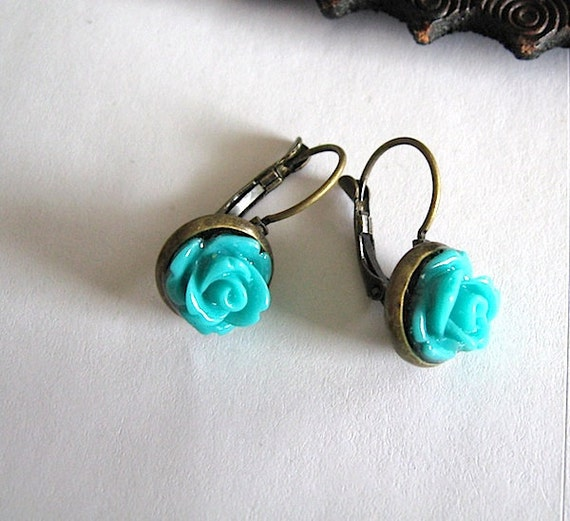 SALE Teal Rose Flower Earrings - Flower Earrings - Brass  - Turquoise - free shipping sale