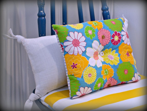 Decorative Pillow, Ticking Pillow, Flower Pillow, Lavender Pillow, Floral Pillow, Cotton Pillow,  Accent Pillow, Small Pillow