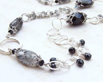 Black Gemstone Necklace, Sterling Silver, Tourmalinated Quartz, Spinel, Long