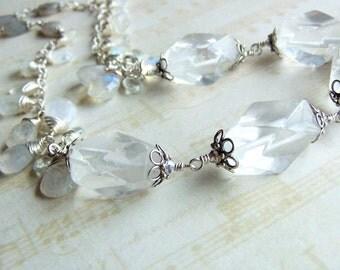 Clear Gemstone Necklace, Moonstone, Quartz, Sterling Silver, Bridal, White