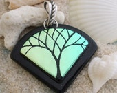 Tree of Life Pendant Dichroic Fused Glass and Sterling Silver 0072 - Dichroic Pendant - Fused Glass Pendant - Glass pendant