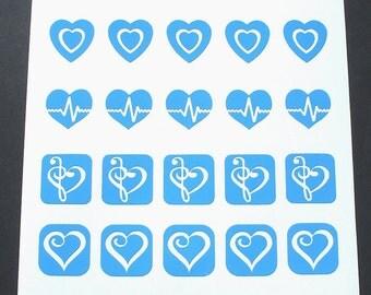 Dichroic Glass Etching Stencils, Vinyl Heart Stencils, With PDF Tutorial for Etching Dichroic Glass