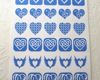Dichroic Glass Etching Stencils, Vinyl Heart Stencils 2, With PDF Tutorial for Etching Dichroic Glass