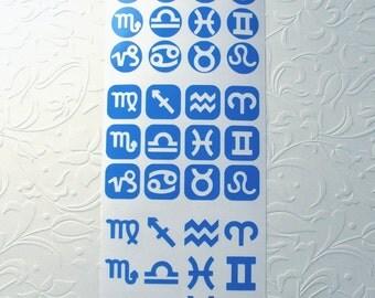 Dichroic Glass Etching Stencils, Vinyl Zodiac Stencils, With PDF Tutorial for Etching Dichroic Glass