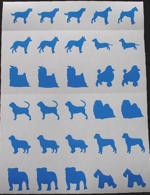 Dichroic Glass Etching Stencils, Vinyl Dog Stencils, With PDF Tutorial for Etching Dichroic Glass Top 12 Breeds