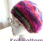 Knit Hat Pattern Tutorial pdf, Original Basic Slouch Hat Knitting Patterns, Instant Download