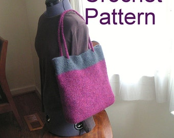 How to make Crochet Bag Pattern Tutorial, Simple Crochet Felted Bag Pattern, Instant download file