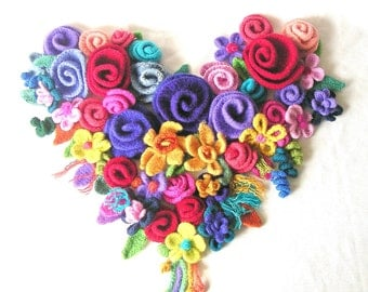 How to make Crochet Flowers Pattern Tutorial, Felted Flowers Crochet Pattern, Instant Download
