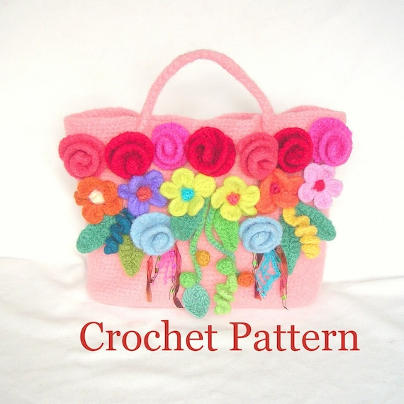 Crochet Felted Tote Bag Pattern : New Fairy Tale Flowers Tote Bag Crochet by ...