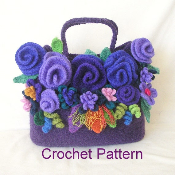Felted Crochet : How to make Crochet Felted Flower Bag Pattern Tutorial, Crochet Bag ...