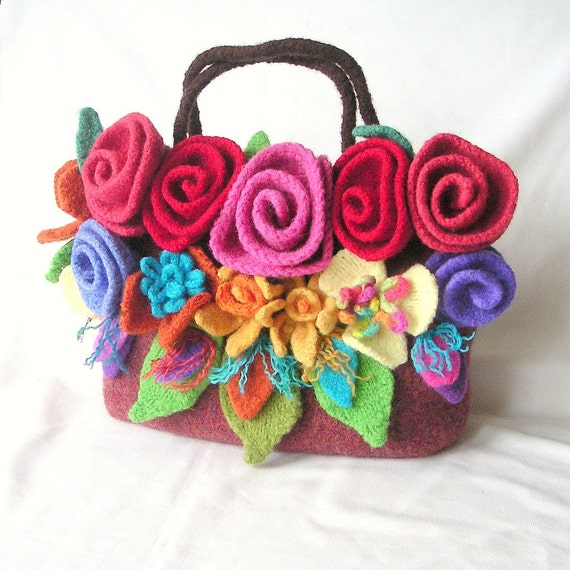 Knitting Pattern Felted Bag : Items similar to Knitting Pattern, Felted Flower Bag Knitting Pattern Tutoria...