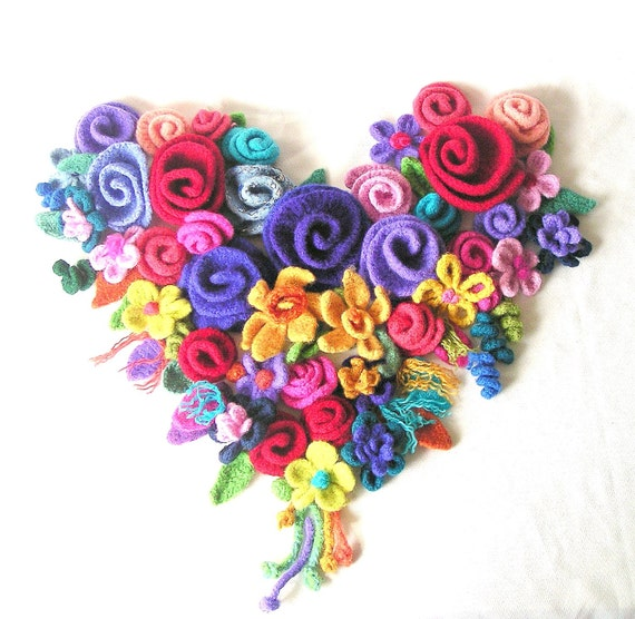 Make Crochet Flower Pattern : How to make Crochet Flowers Pattern Tutorial Felted Flowers