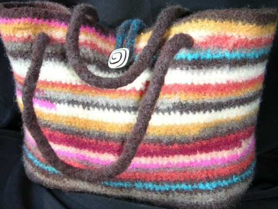 Crochet Felted Tote Bag Pattern : Felted Tote Bag with Pocket Crochet by GraceKnittingPattern