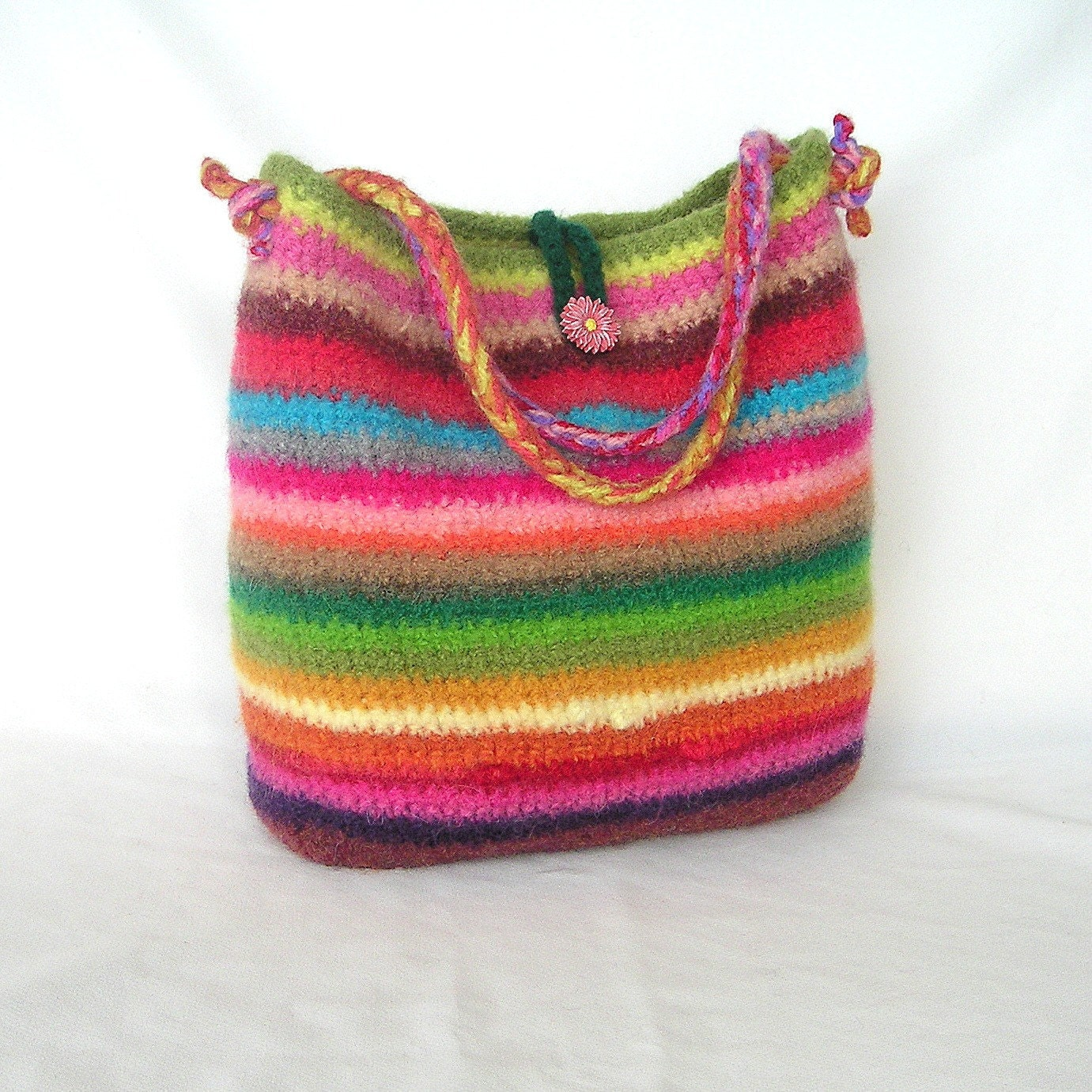 Crochet Designs For Bags : Rainbow Felted Bag Crochet Pattern by GraceKnittingPattern on Etsy
