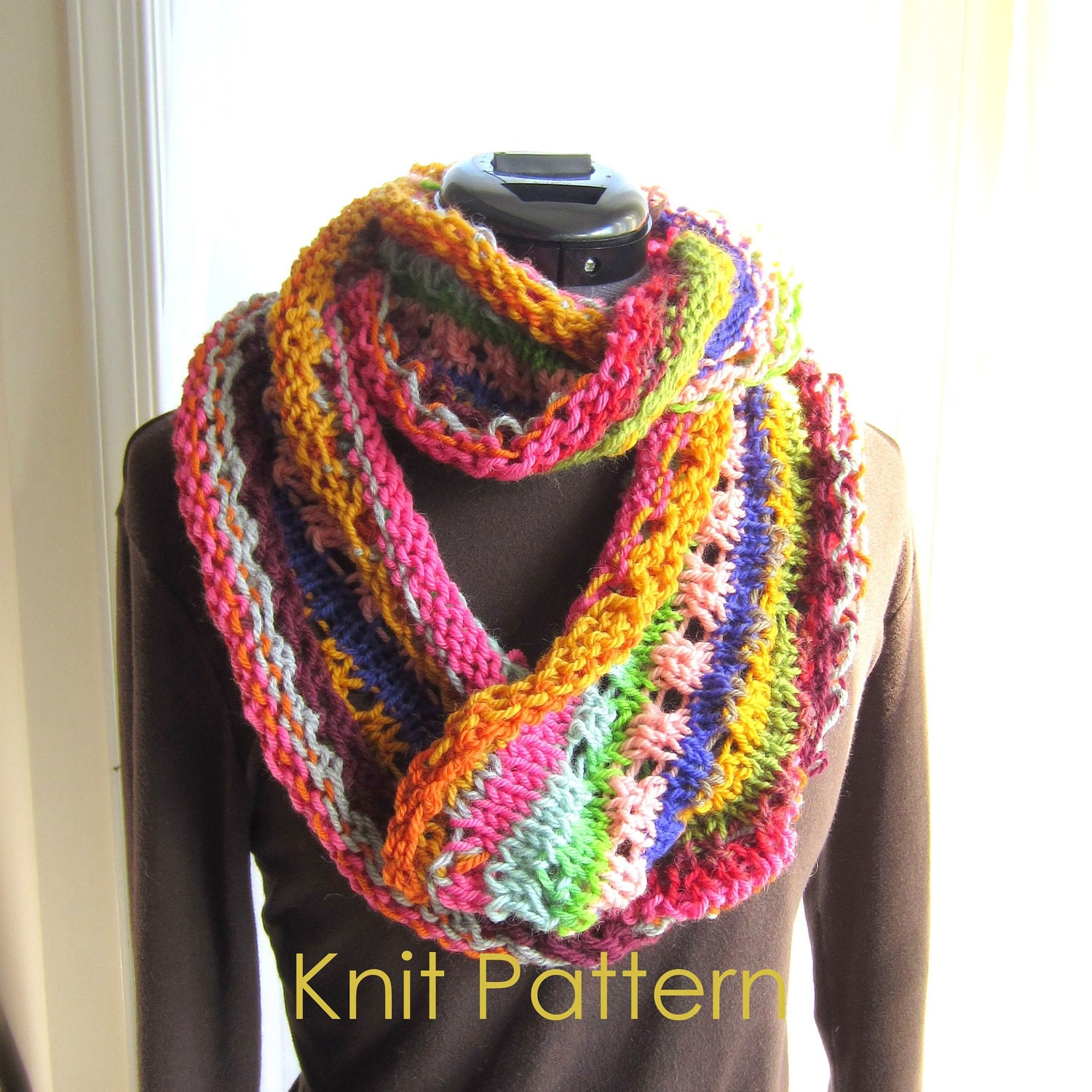 Simple Knitting Pattern For Infinity Scarf : Easy Knit Scarf Pattern Tutorial Infinity by GraceKnittingPattern