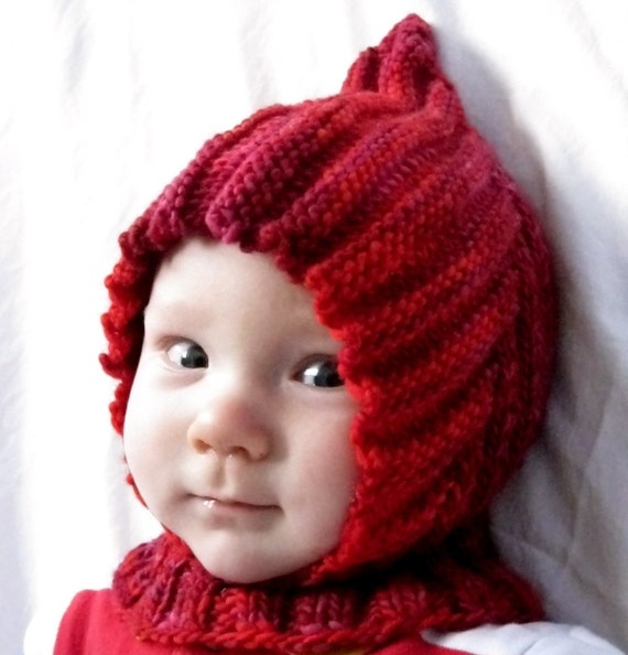 Knit Baby Balaclava Hoodie Hat LITTLE RED RIDING HOOD