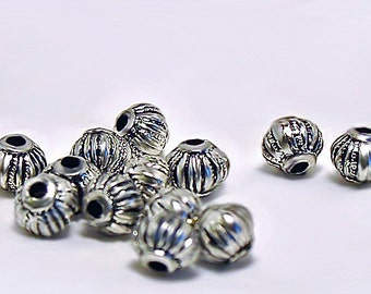 Round Silver Spacers- silver acrylic spacer beads