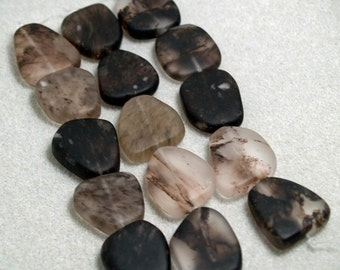 Black Marble- recycled sea glass beads
