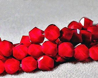 Twisted Ruby- faceted crystal hex beads