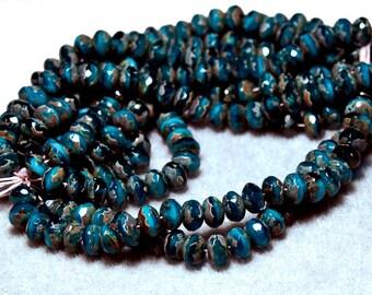 Marbled Blue Gemstones- thru cut Czech glass beads