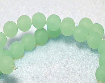 Chalcedony Rondelles-  recycled seaglass beads