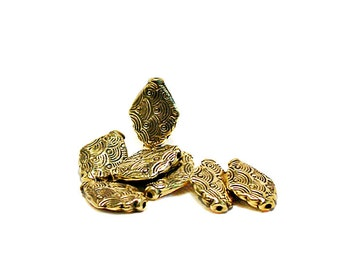 Gold Diamonds- antiqued gold pewter beads