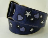 Purple leather Dog Collar Personalized