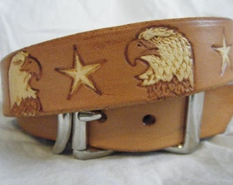 Rustic Dog Collar - Patriotic - Dog Collar - Leather