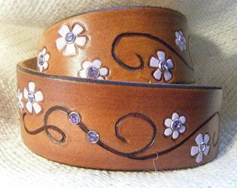 Floral Dog Collar - Lavender - Dog collar - Leather
