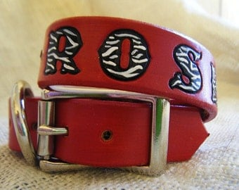 Leather Dog Collar Personalize - Red- Dog Collar - Zebra Hearts